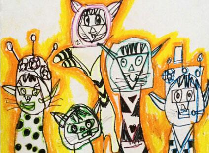 刮蜡画-儿童画初级班2014年8月17日 最后更新:2014-09-09 动物乐园-儿