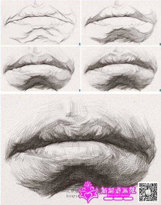 人中: 位于上唇结节线的上部是鼻子与嘴之间的凹槽, 画时注意它会随嘴部的透视进行变化。   口裂: 上、下嘴唇闭合后形成的波状线, 具有起伏、虚实等变化。   下唇: 下嘴唇的变化比较圆滑, 由左右两个唇结节形成两个微突点。下嘴唇从横向和纵向来说都可以各自分为三个面, 表现时不能抄袭调子而忽视对该形体的表现。   嘴角: 嘴部与脸部衔接中非常重要的部位, 表现时注意由嘴角处穿过嘴唇边缘相交处在形体上形成的明暗关系, 它是嘴部表现过程中非常重要的一个细节。   嘴部的塑造规律   首先, 由于作画角度