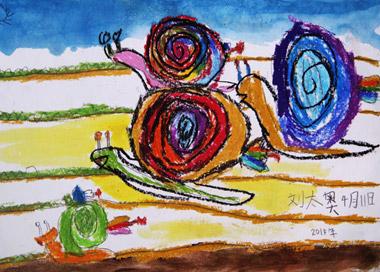 快乐的蜗牛-儿童画初级班-2015年4月11日学生作品-新起点画苑