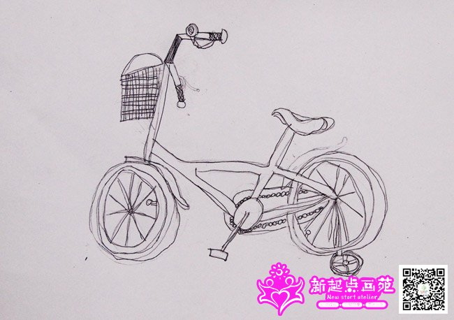 自行车局部写生儿童画_绘画分享